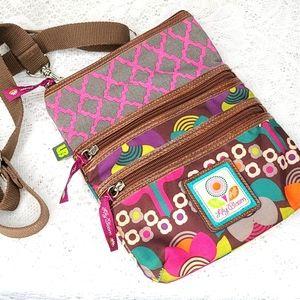 Lily Bloom 3 zipper floral crossbody purse